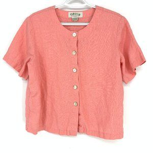 3/$20 Orvis 100% Linen pink button -ront top Med